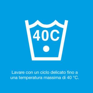 Lavare con un ciclo delicato fino a una temperatura massima di 40°