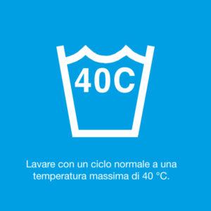 Lavare con un ciclo normale a una temperatura massima di 40°