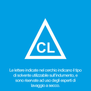 Le lettere indicate nel triangolo indicano il tipo di solvente utilizzabile sull'indumento, e sono riservate ad uso degli esperti di lavaggio a secco