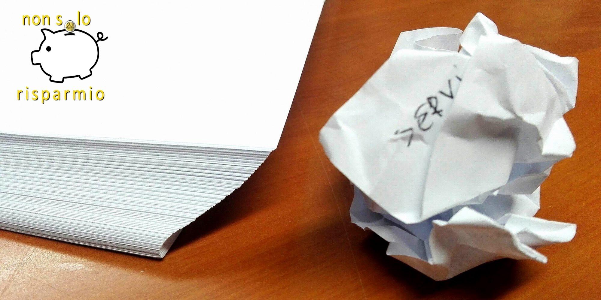 Come risparmiare carta (foto M. Cuomo)